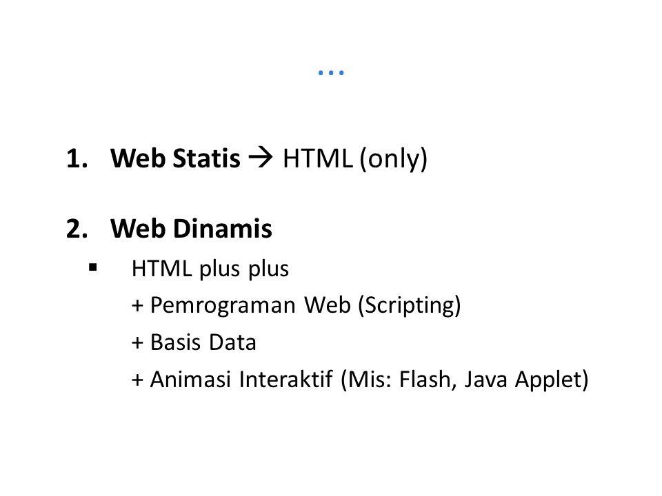 ... Web Statis  HTML (only) Web Dinamis HTML plus plus