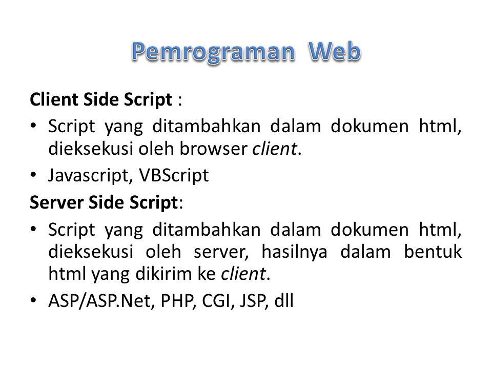 Pemrograman Web Client Side Script :