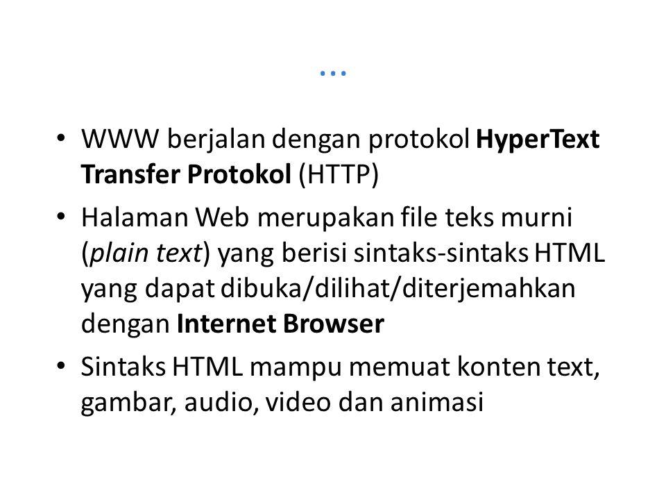 ... WWW berjalan dengan protokol HyperText Transfer Protokol (HTTP)