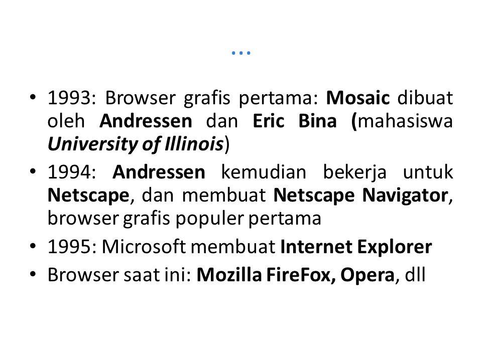 ... 1993: Browser grafis pertama: Mosaic dibuat oleh Andressen dan Eric Bina (mahasiswa University of Illinois)