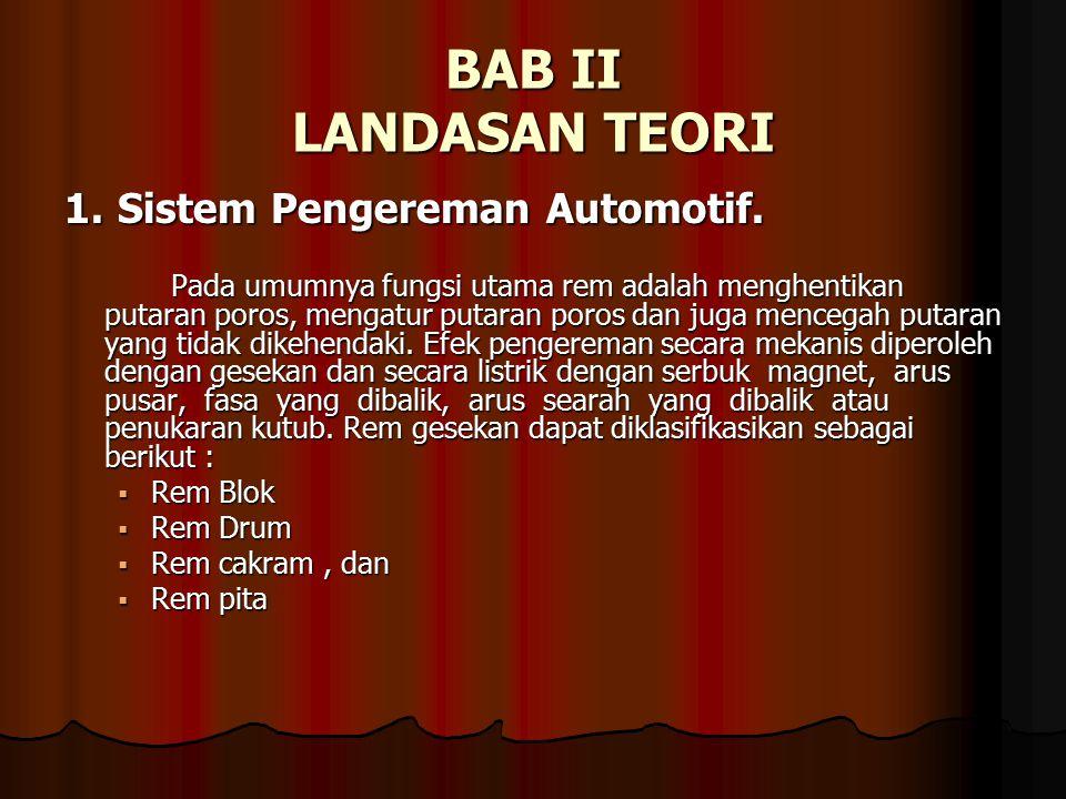 BAB II LANDASAN TEORI 1. Sistem Pengereman Automotif.