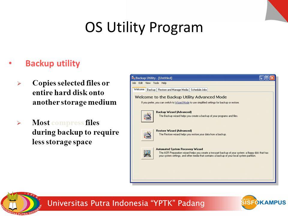 OS Utility Program Backup utility