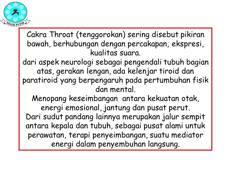 Cakra Throat (tenggorokan) sering disebut pikiran bawah, berhubungan dengan percakapan, ekspresi, kualitas suara.