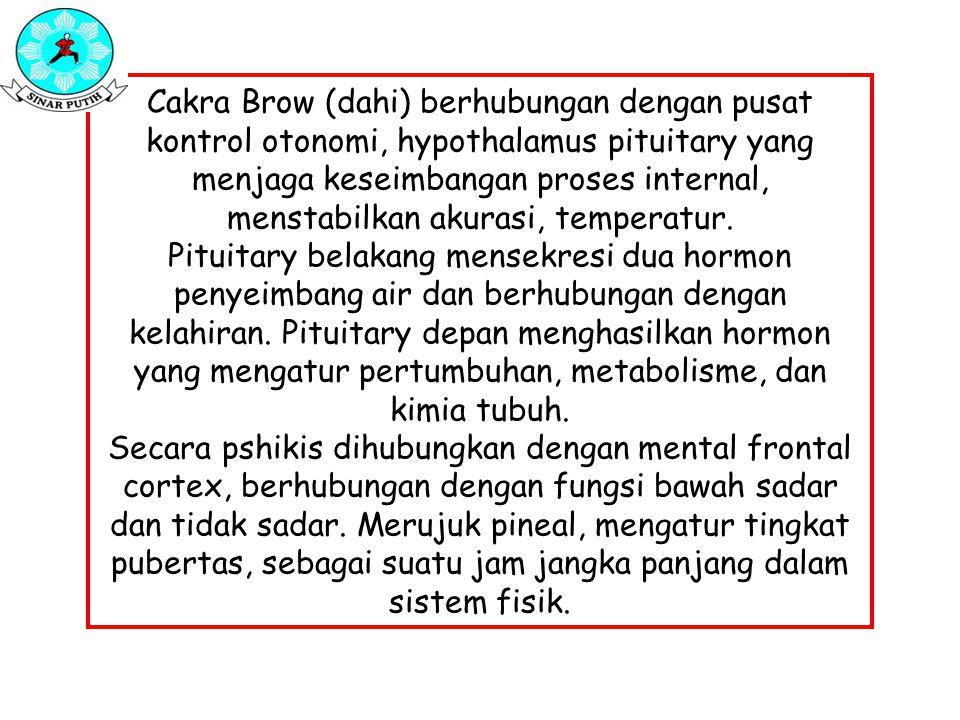 Cakra Brow (dahi) berhubungan dengan pusat kontrol otonomi, hypothalamus pituitary yang menjaga keseimbangan proses internal, menstabilkan akurasi, temperatur.