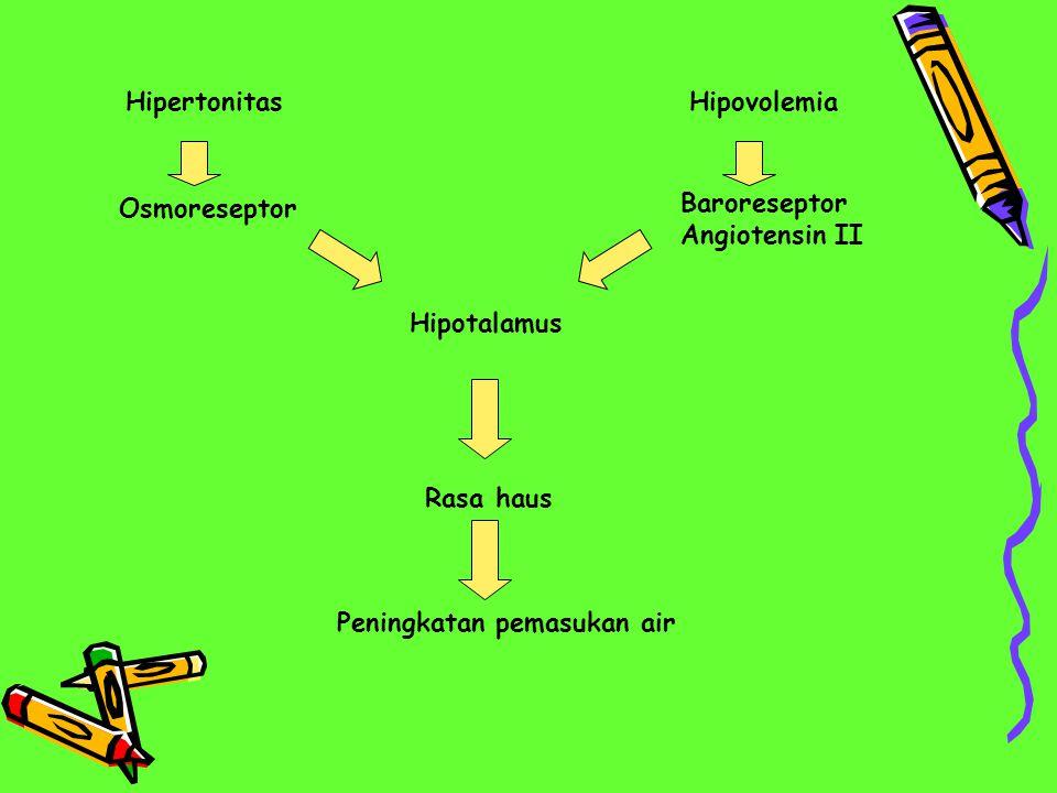 Hipertonitas Hipovolemia. Osmoreseptor. Baroreseptor Angiotensin II.