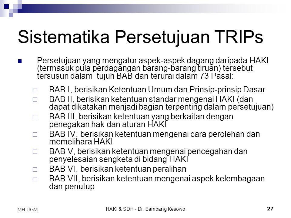 Sistematika Persetujuan TRIPs