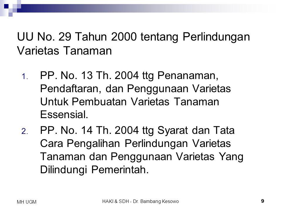 UU No. 29 Tahun 2000 tentang Perlindungan Varietas Tanaman