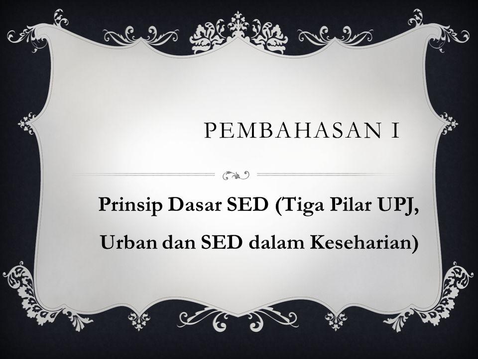 Prinsip Dasar SED (Tiga Pilar UPJ, Urban dan SED dalam Keseharian)