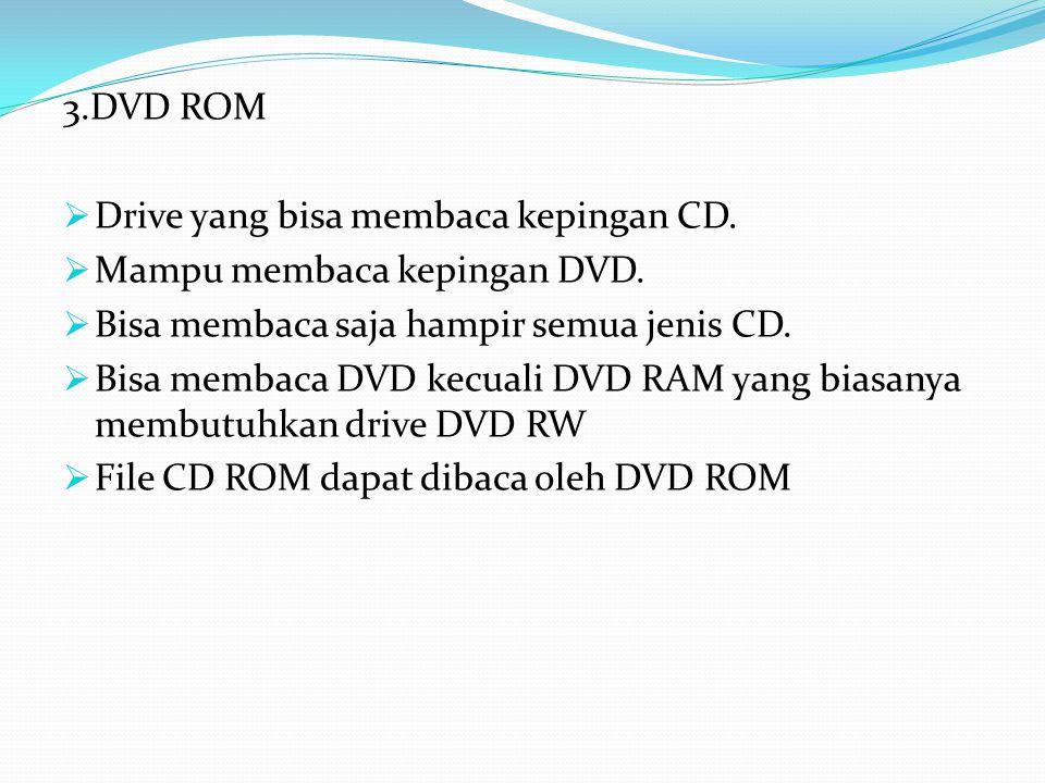 3.DVD ROM Drive yang bisa membaca kepingan CD. Mampu membaca kepingan DVD. Bisa membaca saja hampir semua jenis CD.