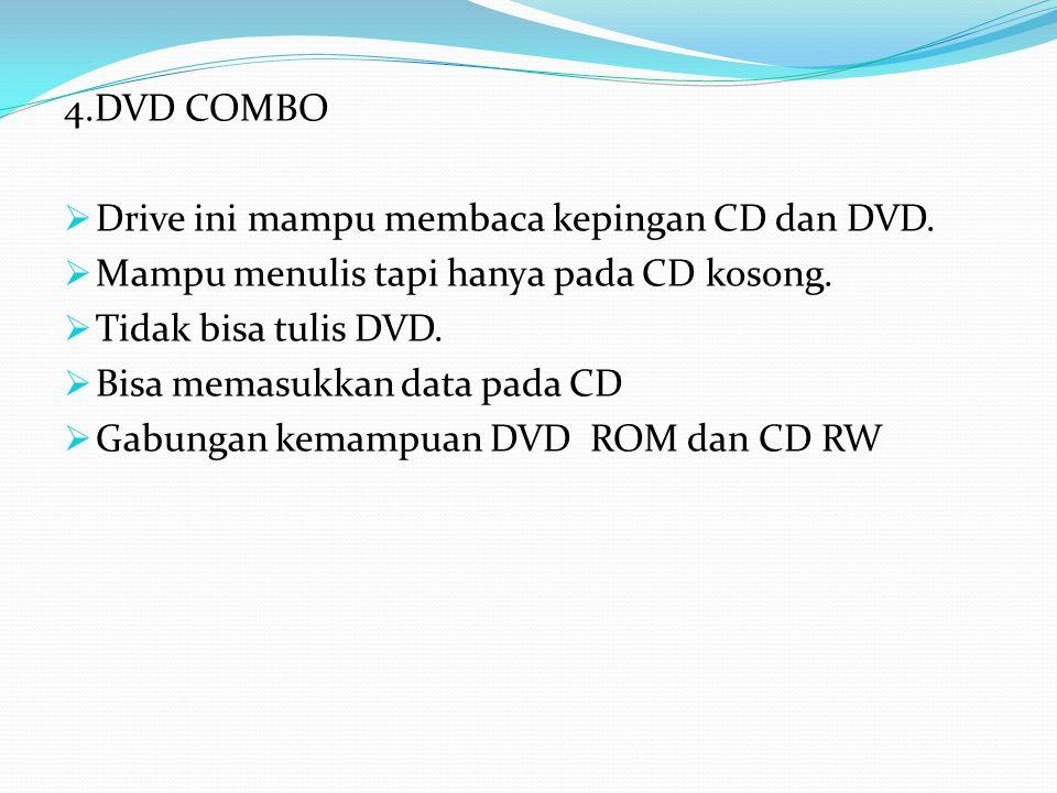 4.DVD COMBO Drive ini mampu membaca kepingan CD dan DVD. Mampu menulis tapi hanya pada CD kosong. Tidak bisa tulis DVD.