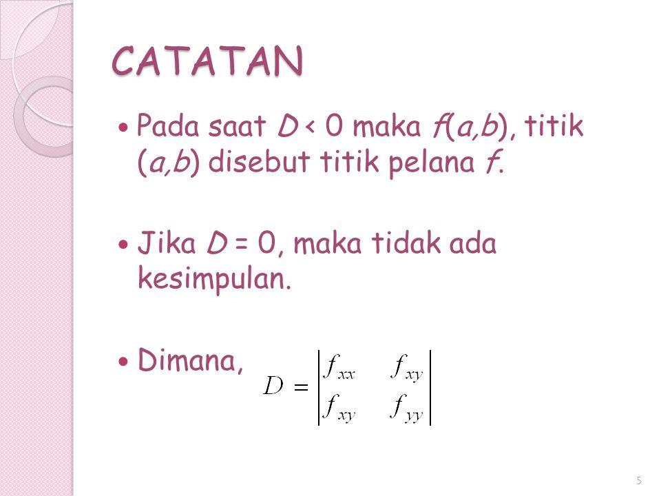 CATATAN Pada saat D < 0 maka f(a,b), titik (a,b) disebut titik pelana f. Jika D = 0, maka tidak ada kesimpulan.