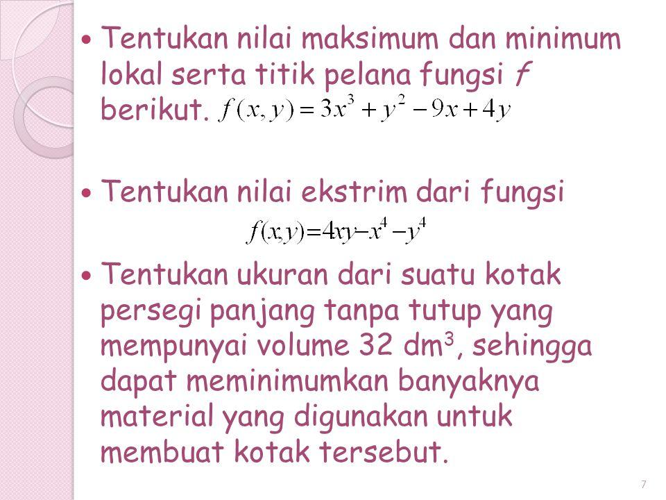 Tentukan nilai maksimum dan minimum lokal serta titik pelana fungsi f berikut.