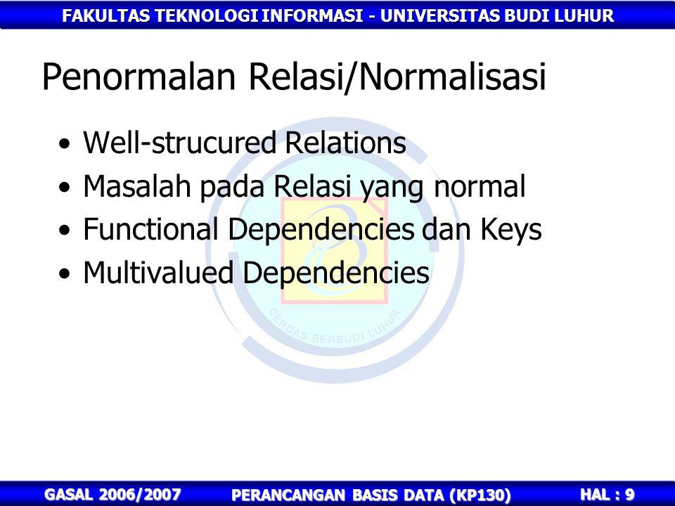 Penormalan Relasi/Normalisasi