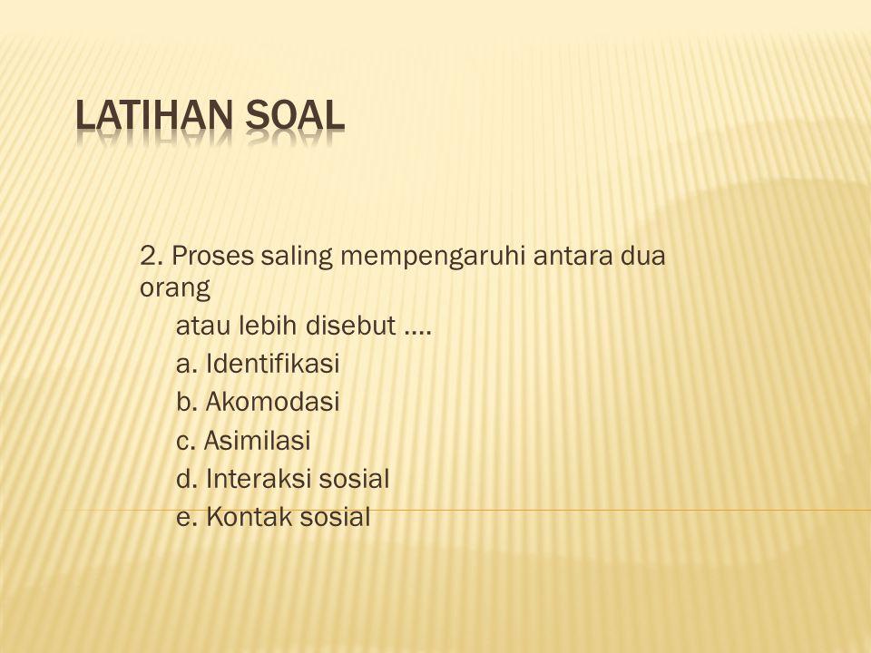 LATIHAN SOAL 2. Proses saling mempengaruhi antara dua orang