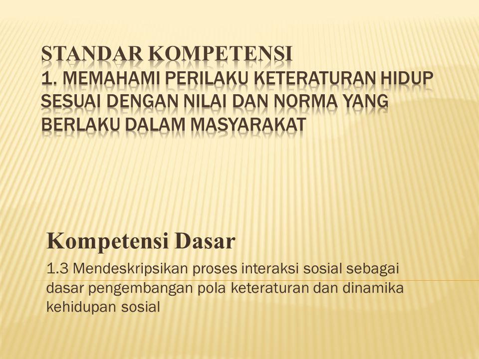 Standar Kompetensi 1. Memahami perilaku keteraturan hidup sesuai dengan nilai dan norma yang berlaku dalam masyarakat