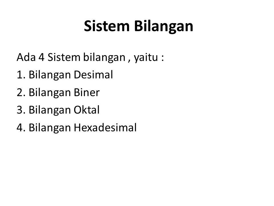 Sistem Bilangan Ada 4 Sistem bilangan , yaitu : 1.
