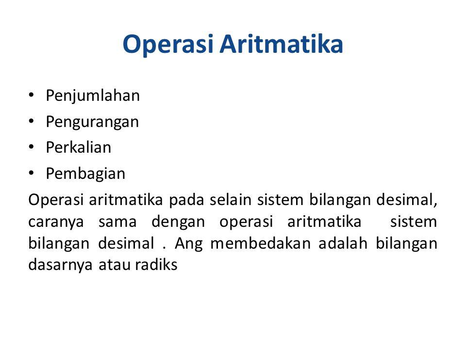 Operasi Aritmatika Penjumlahan Pengurangan Perkalian Pembagian