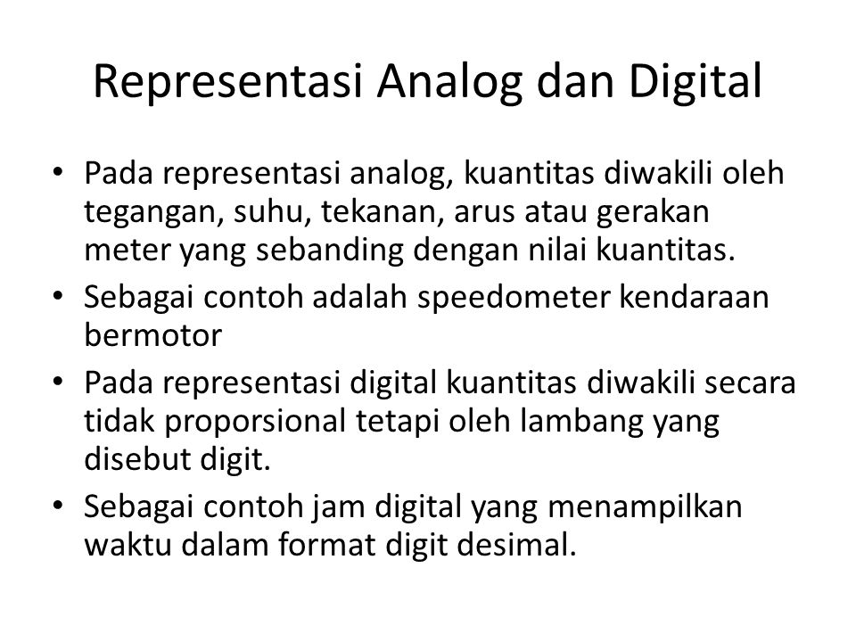 Representasi Analog dan Digital