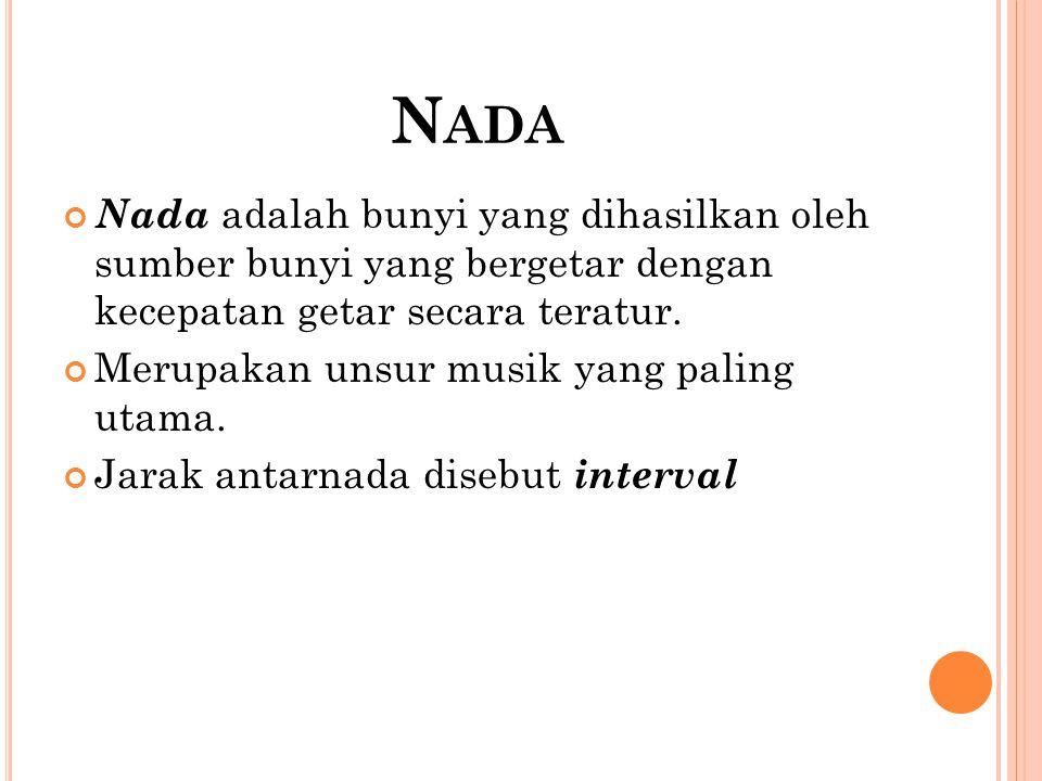 Nada Nada adalah bunyi yang dihasilkan oleh sumber bunyi yang bergetar dengan kecepatan getar secara teratur.