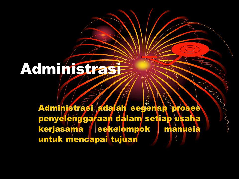 Administrasi Administrasi adalah segenap proses penyelenggaraan dalam setiap usaha kerjasama sekelompok manusia untuk mencapai tujuan.
