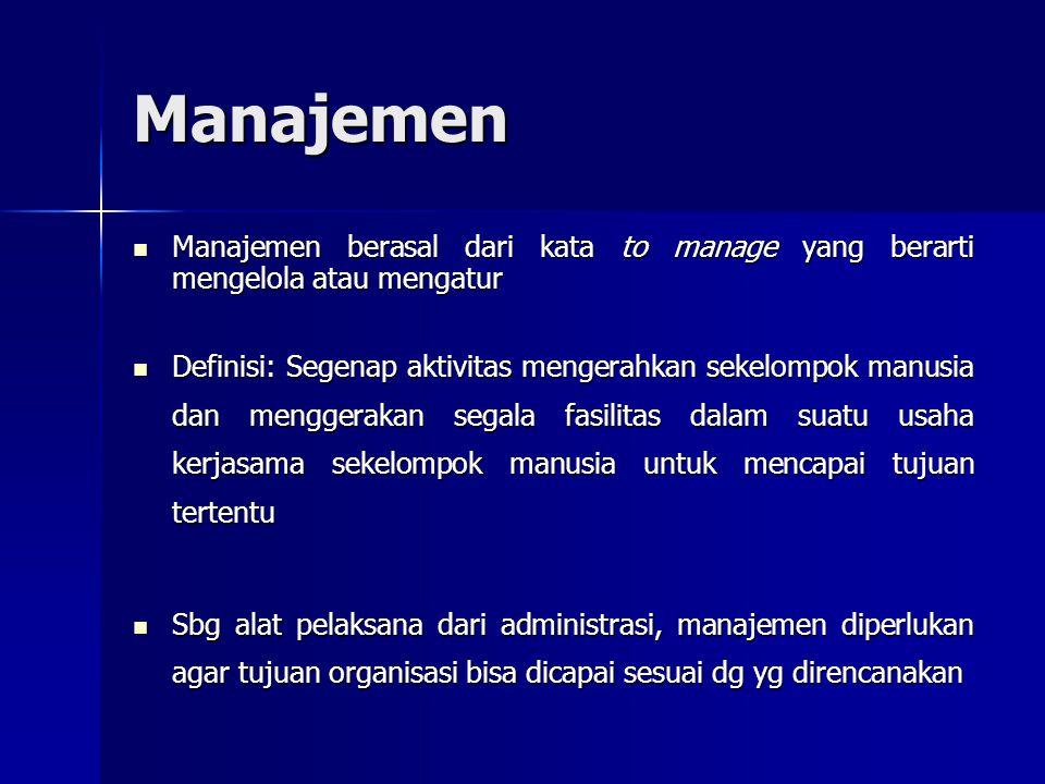 Manajemen Manajemen berasal dari kata to manage yang berarti mengelola atau mengatur.