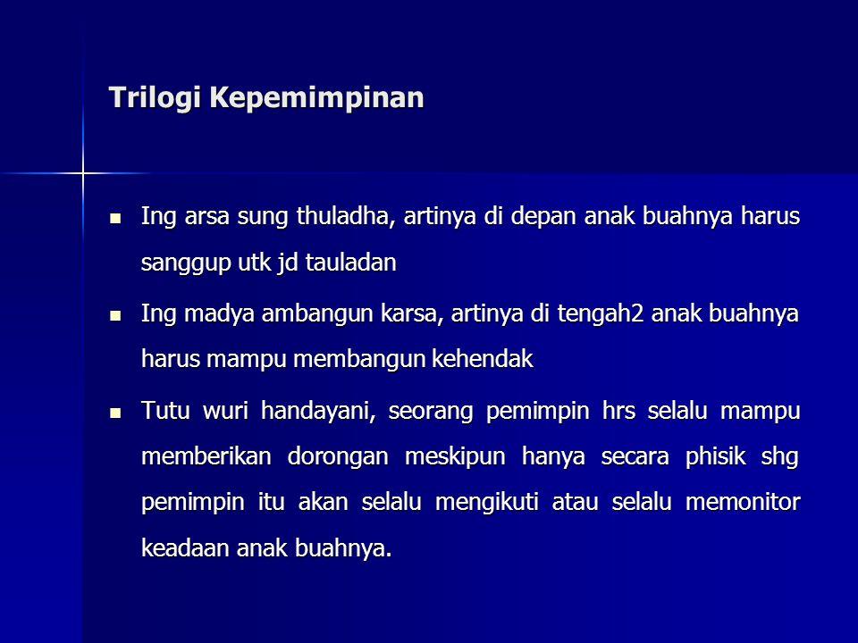Trilogi Kepemimpinan Ing arsa sung thuladha, artinya di depan anak buahnya harus sanggup utk jd tauladan.