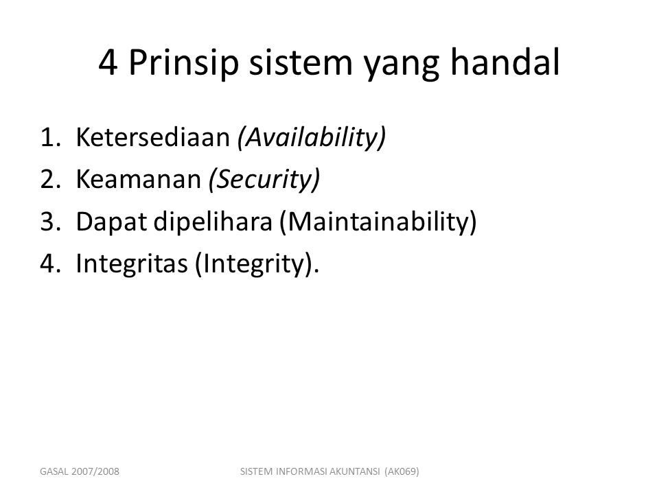 4 Prinsip sistem yang handal