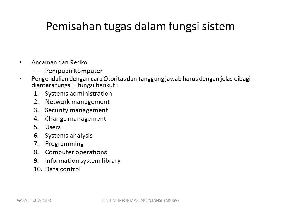Pemisahan tugas dalam fungsi sistem