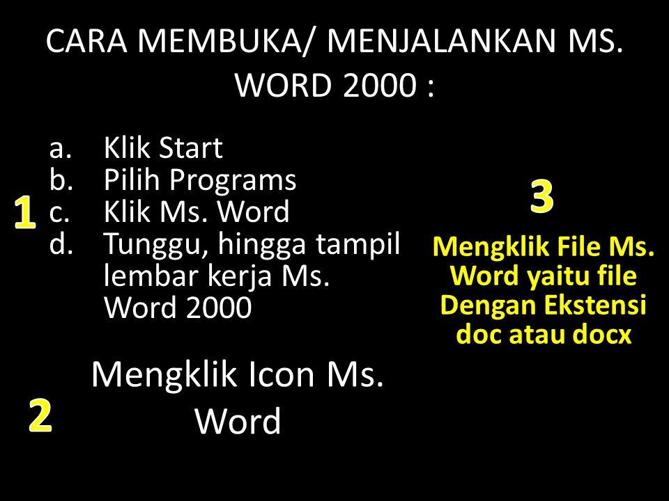 CARA MEMBUKA/ MENJALANKAN MS. WORD 2000 :