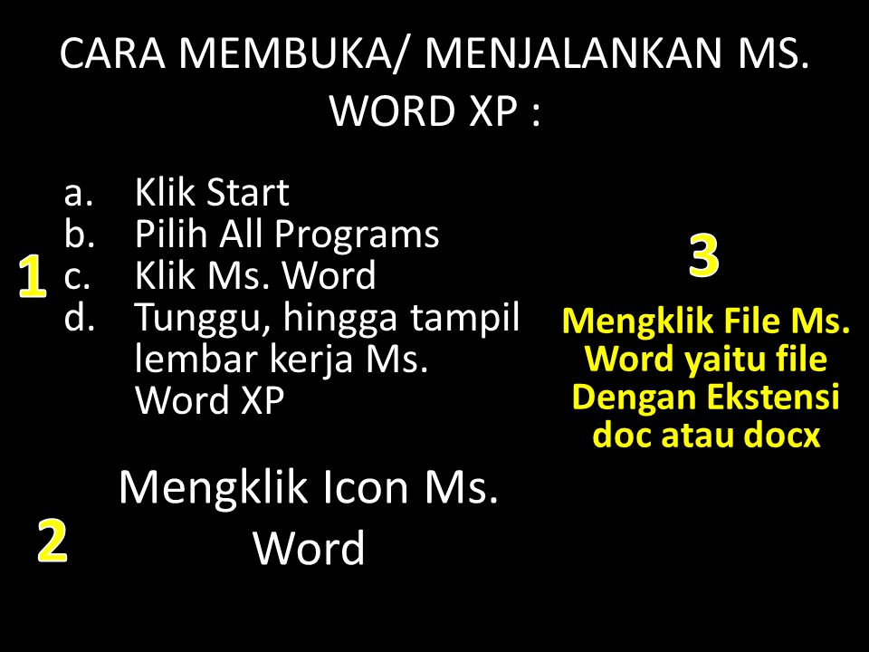 CARA MEMBUKA/ MENJALANKAN MS. WORD XP :