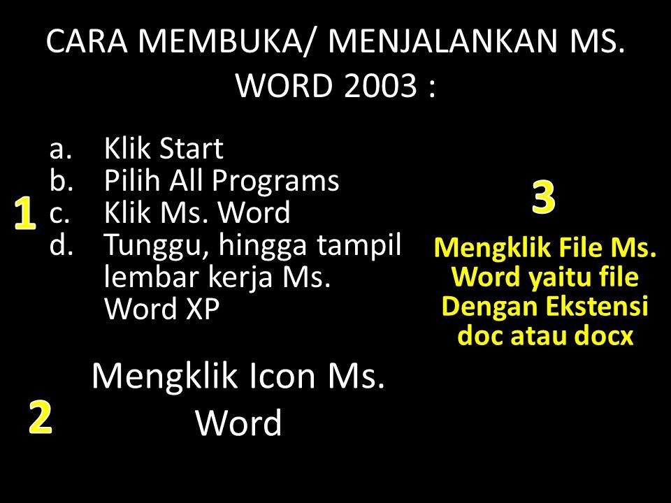CARA MEMBUKA/ MENJALANKAN MS. WORD 2003 :