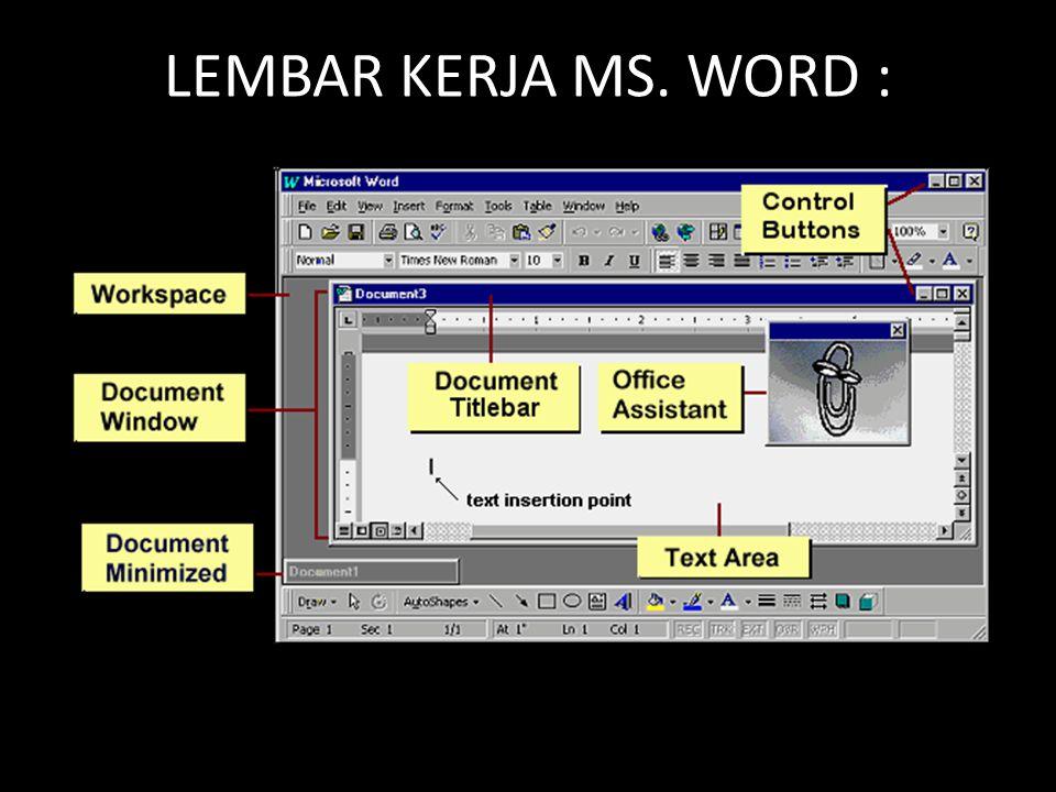 LEMBAR KERJA MS. WORD :