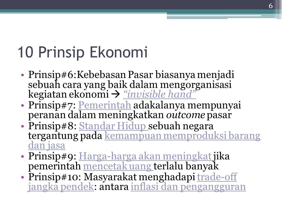10 Prinsip Ekonomi Prinsip#6:Kebebasan Pasar biasanya menjadi sebuah cara yang baik dalam mengorganisasi kegiatan ekonomi  invisible hand