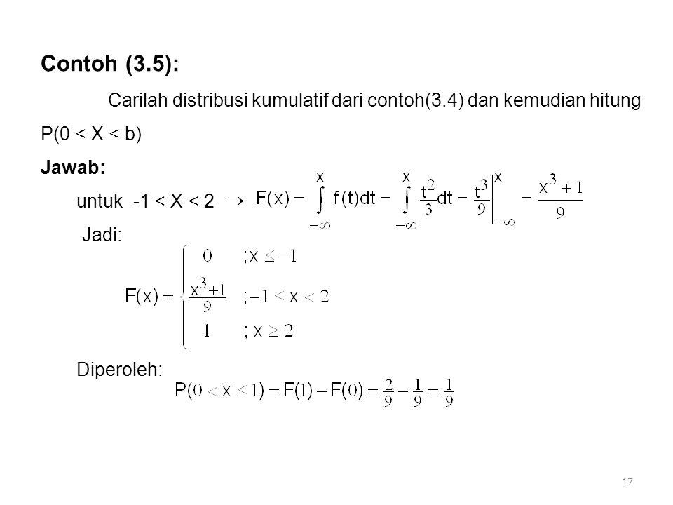 Contoh (3.5): Carilah distribusi kumulatif dari contoh(3.4) dan kemudian hitung P(0 < X < b) Jawab: