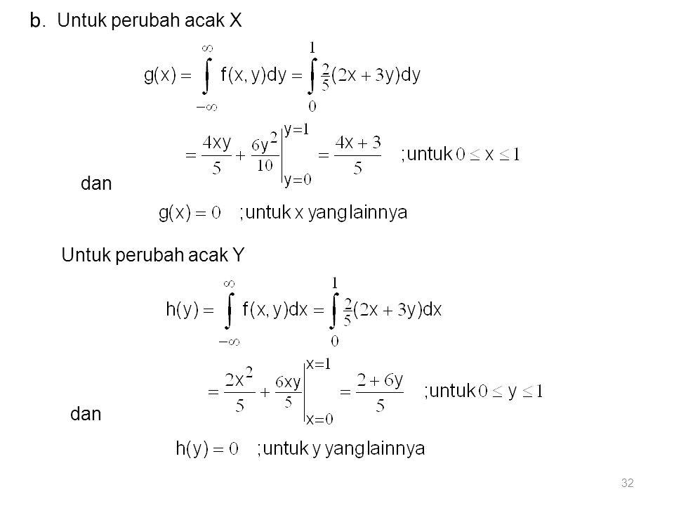b. Untuk perubah acak X dan Untuk perubah acak Y