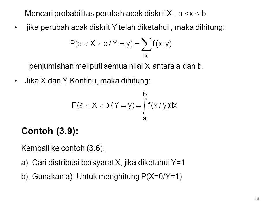 Mencari probabilitas perubah acak diskrit X , a <x < b