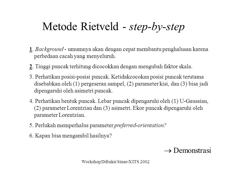 Metode Rietveld - step-by-step