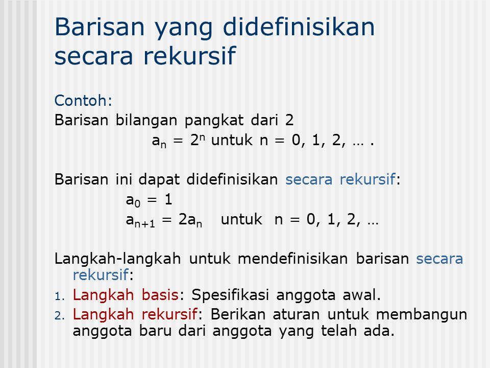 Barisan yang didefinisikan secara rekursif