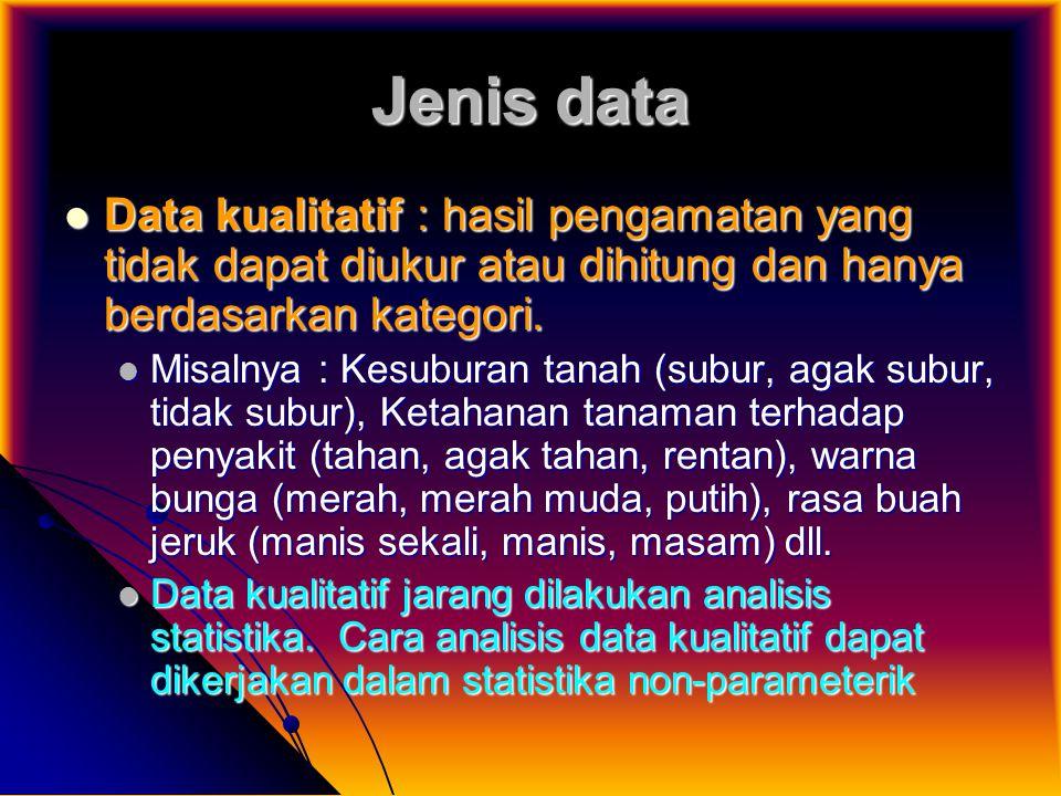 Jenis data Data kualitatif : hasil pengamatan yang tidak dapat diukur atau dihitung dan hanya berdasarkan kategori.