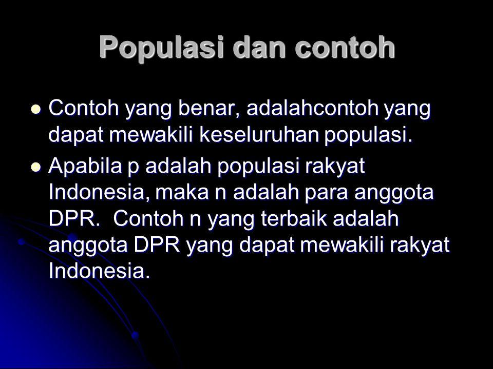 Populasi dan contoh Contoh yang benar, adalahcontoh yang dapat mewakili keseluruhan populasi.
