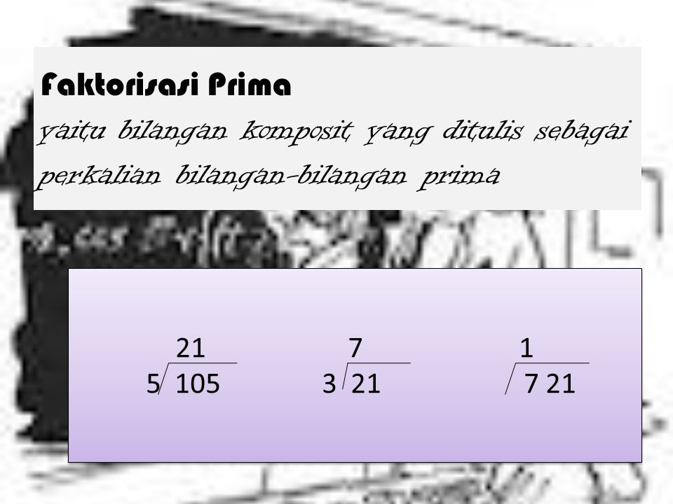 Faktorisasi Prima yaitu bilangan komposit yang ditulis sebagai perkalian bilangan-bilangan prima