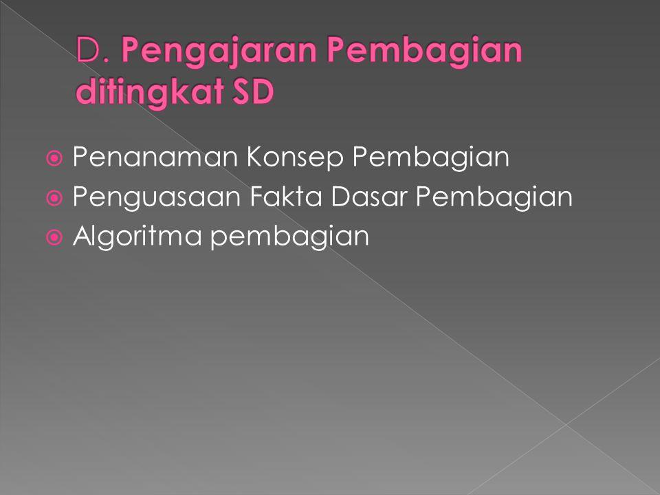 D. Pengajaran Pembagian ditingkat SD