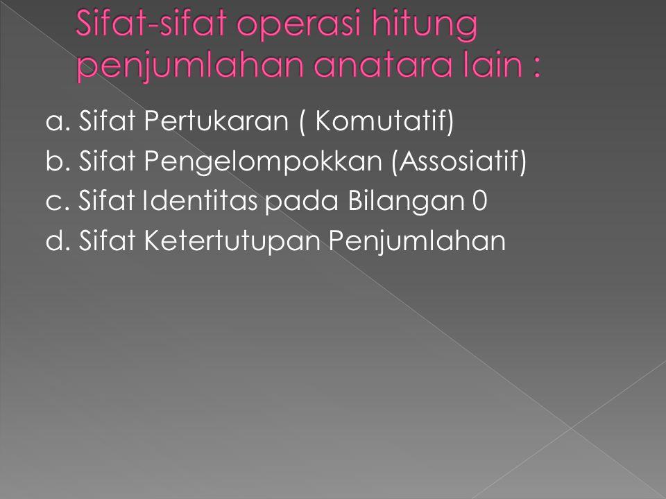 Sifat-sifat operasi hitung penjumlahan anatara lain :