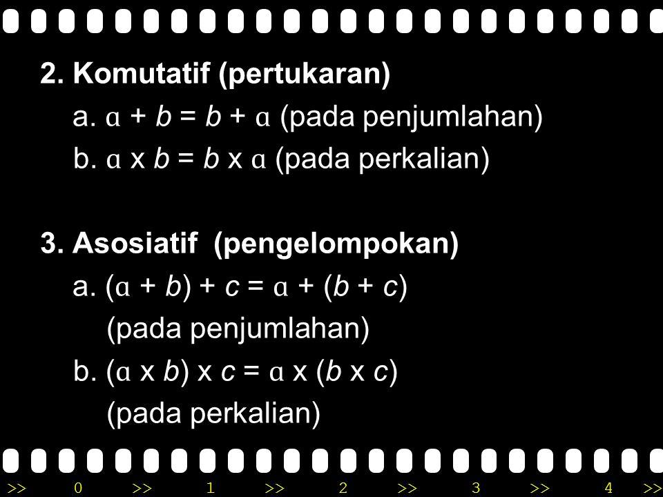 2. Komutatif (pertukaran) a. ɑ + b = b + ɑ (pada penjumlahan) b