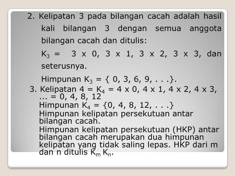 2. Kelipatan 3 pada bilangan cacah adalah hasil kali bilangan 3 dengan semua anggota bilangan cacah dan ditulis: