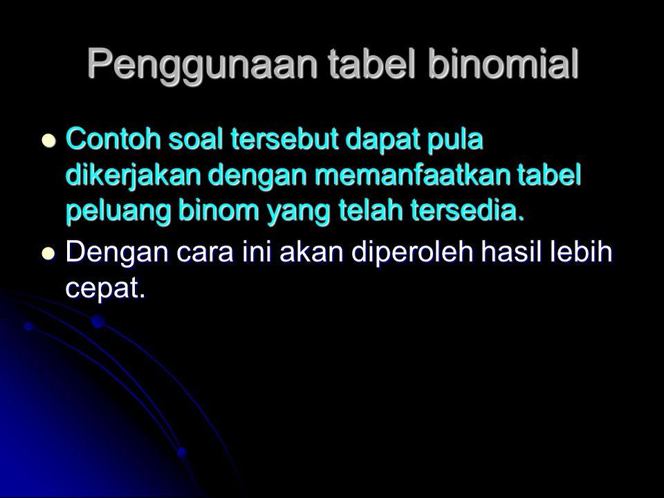 Penggunaan tabel binomial