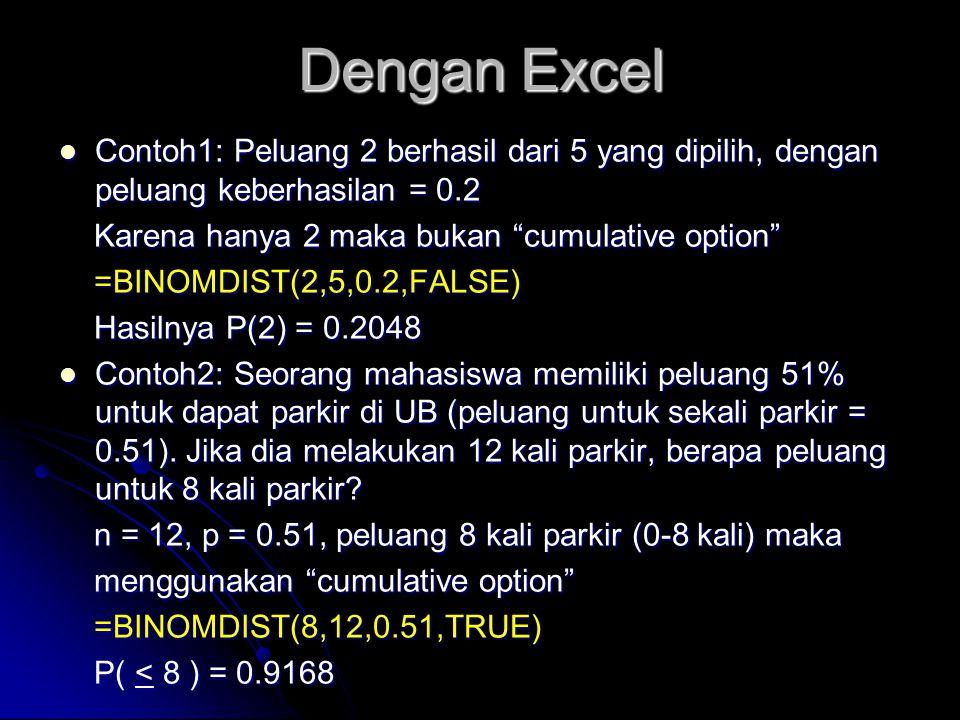 Dengan Excel Contoh1: Peluang 2 berhasil dari 5 yang dipilih, dengan peluang keberhasilan = 0.2. Karena hanya 2 maka bukan cumulative option