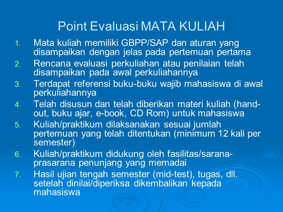 Point Evaluasi MATA KULIAH