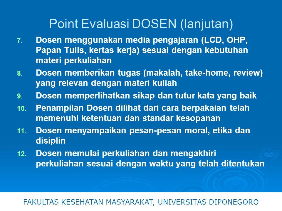 Point Evaluasi DOSEN (lanjutan)