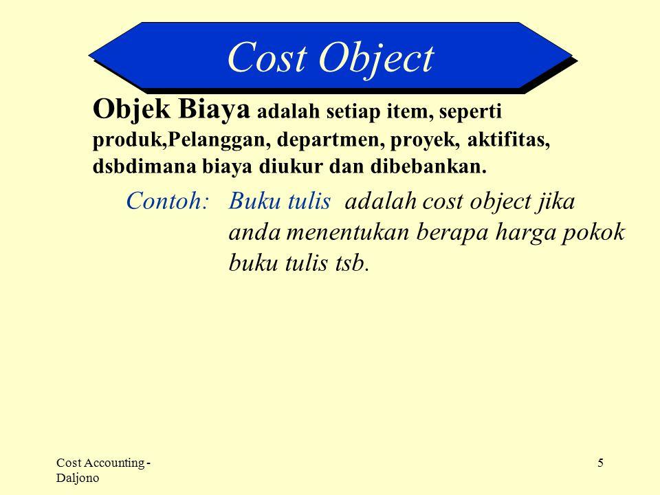 Cost Object Objek Biaya adalah setiap item, seperti produk,Pelanggan, departmen, proyek, aktifitas, dsbdimana biaya diukur dan dibebankan.